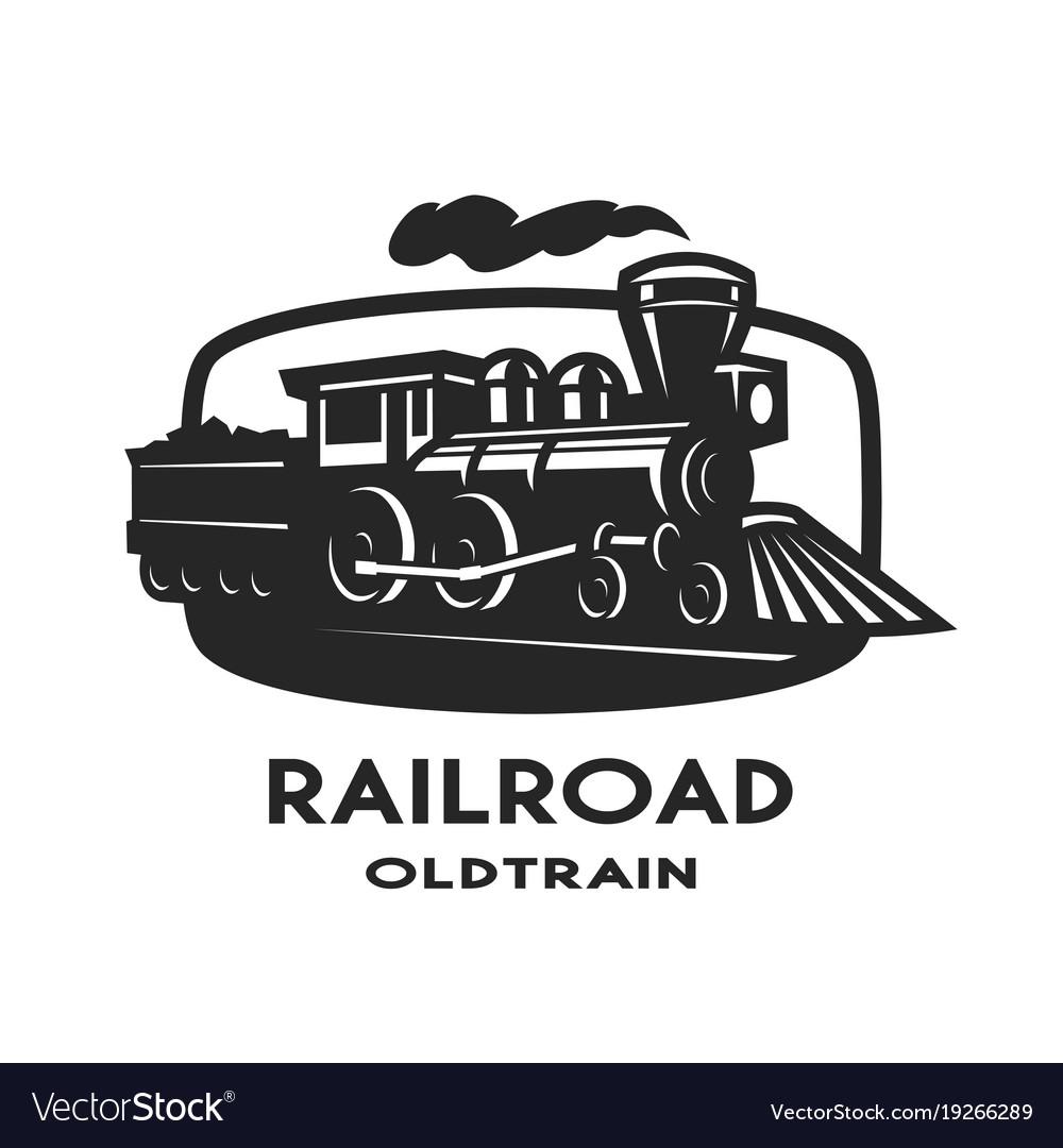 Old steam train emblem logo