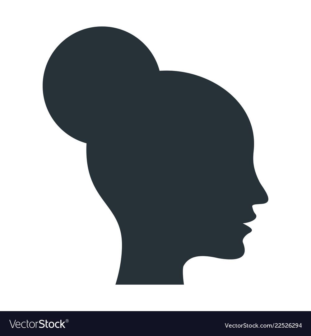 Black silhouette of an elegant female head in