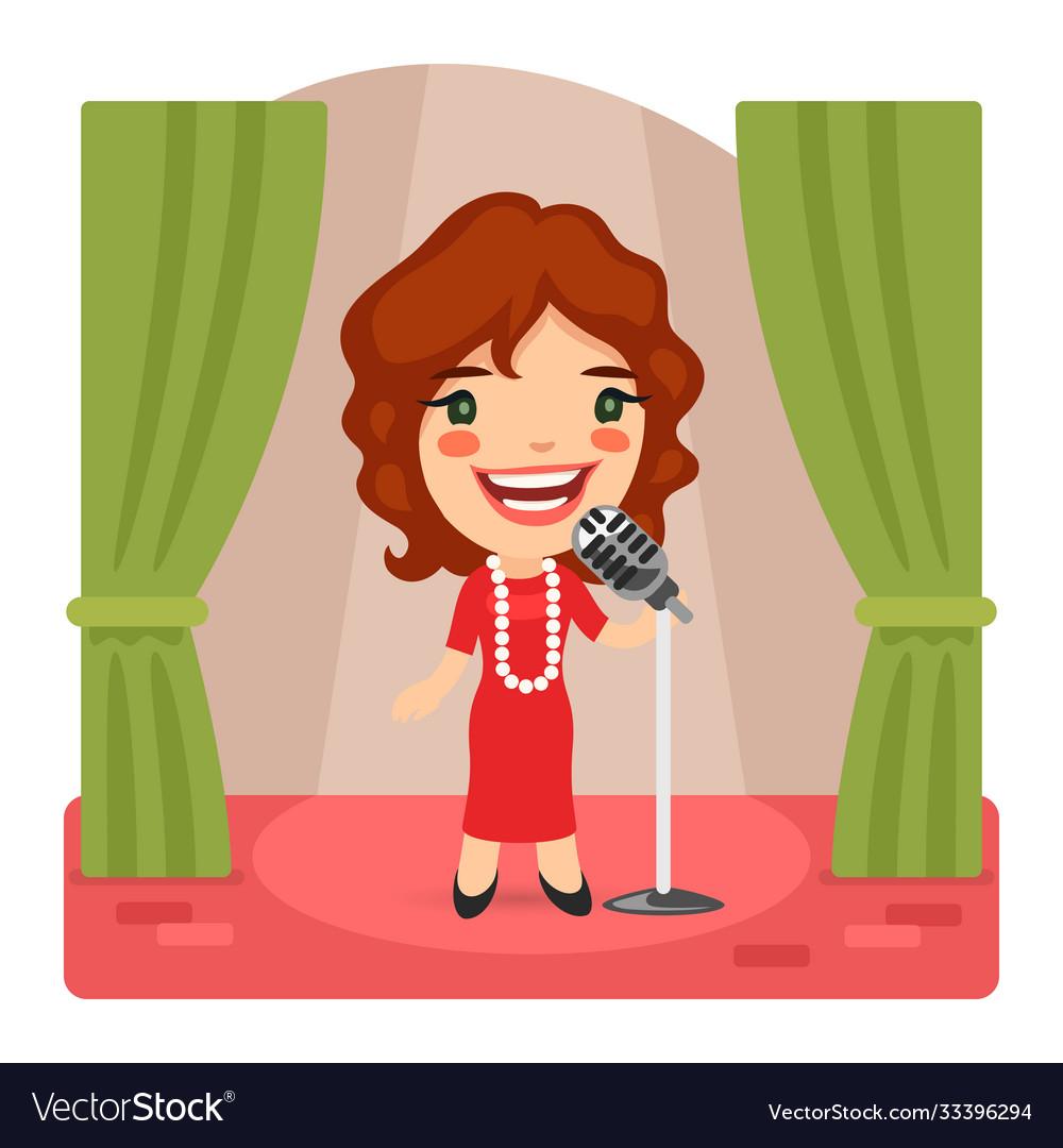Cartoon singer lady on stage