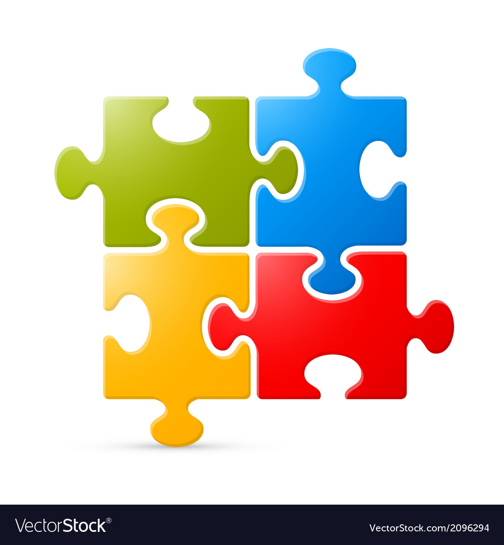 Colorful Puzzle on White Background vector image