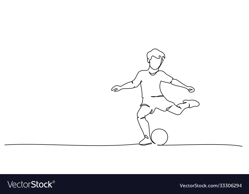 Continuous line drawing football players sports