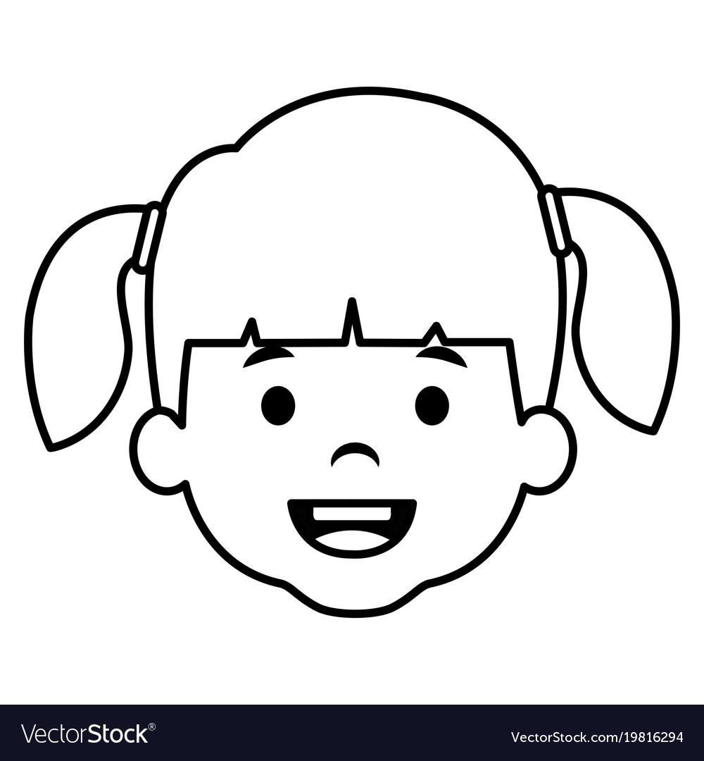 Cute and little girl head