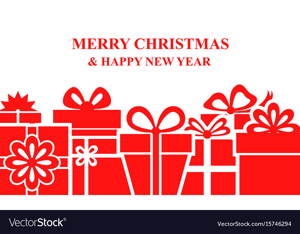 Greeting christmas banner with gifts vector image