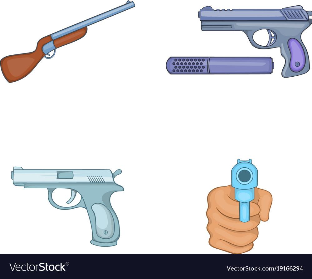 Gun icon set cartoon style
