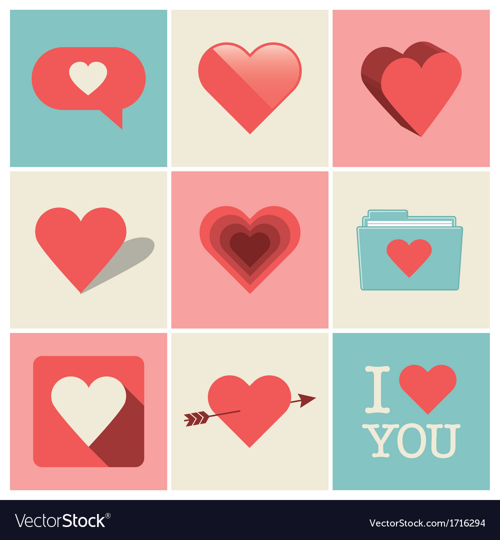 Heart icons set one vector image