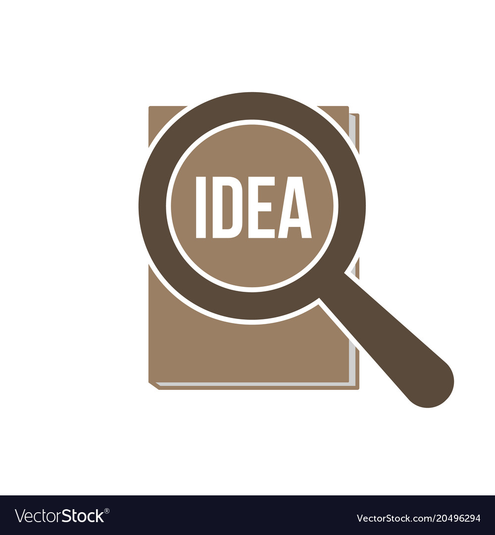 Idea word magnifying glass vector image