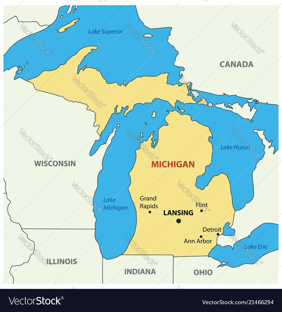 Michigan Map Royalty Free Vector Image Vectorstock