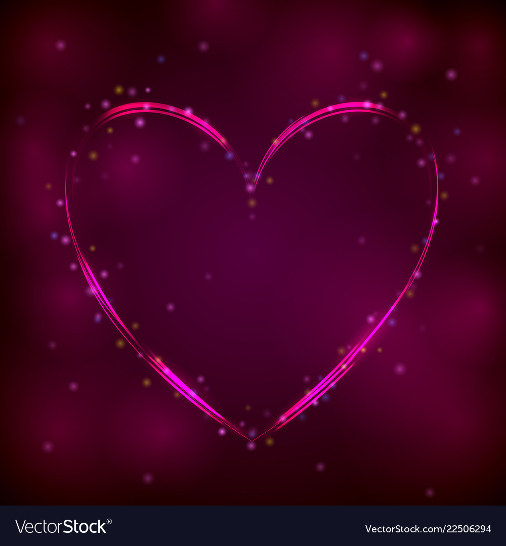Neon pink heart on dark background