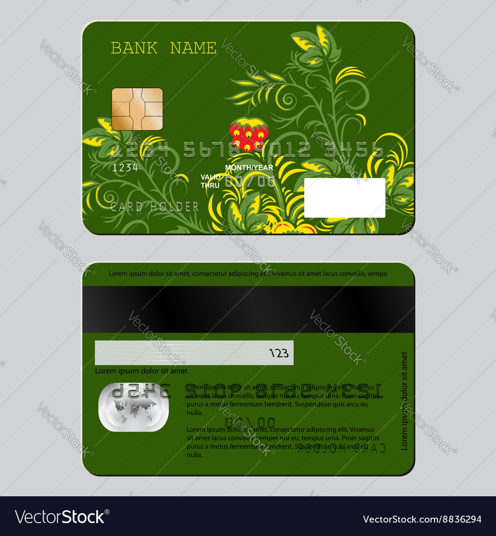 Sample design template credit card from two sides