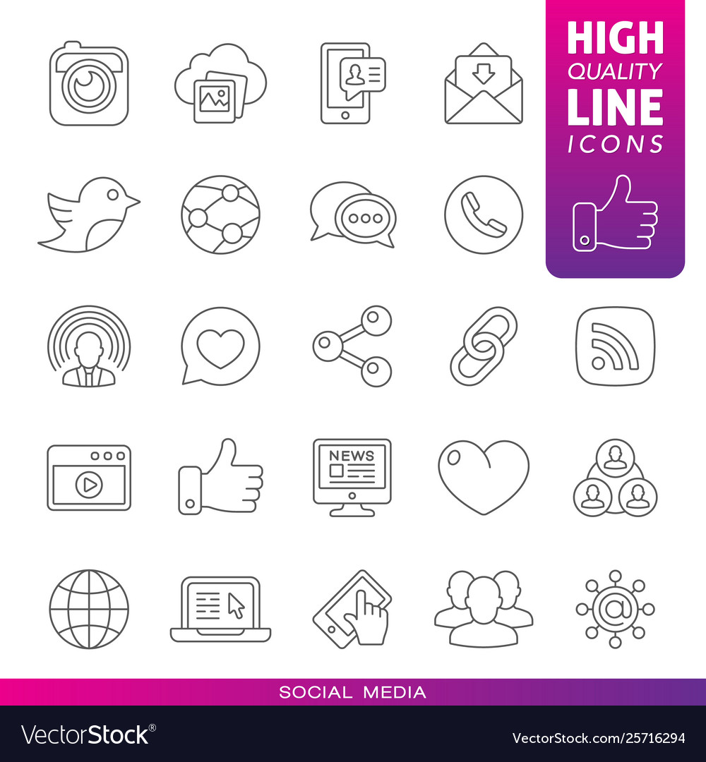 Social media high quality line icons