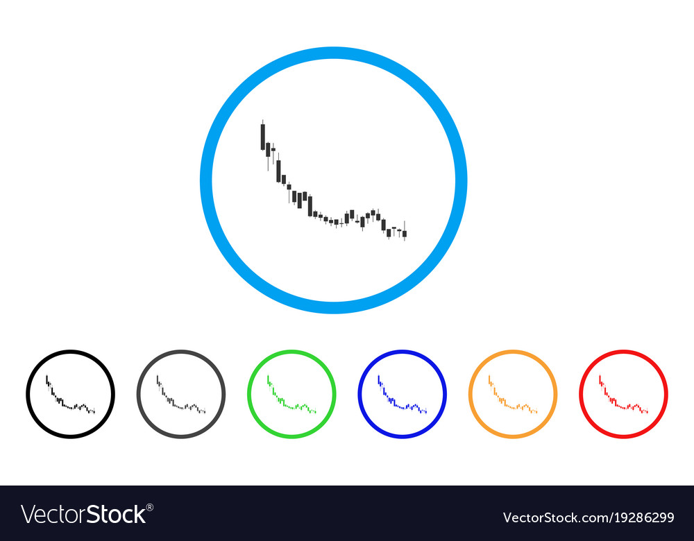 Candlestick chart falling slowdown rounded icon