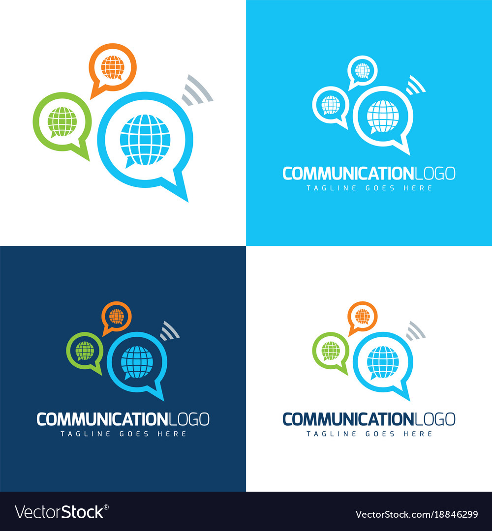 Communication globes icon and logo vector image