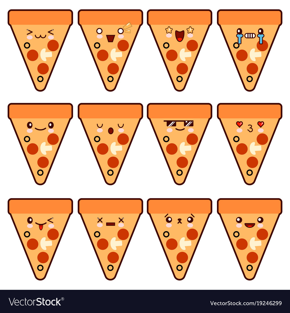 Emoticon Set Pizza Kawaii Face Character With