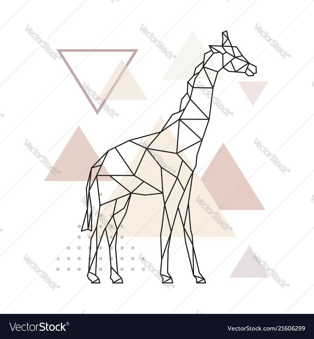 Geometric giraffe on simple triangles background