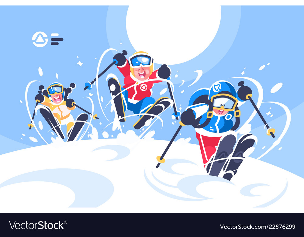 Happy children skiing flat poster