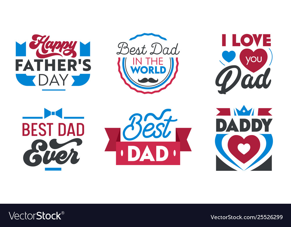 Happy fathers day set emblems labels icons