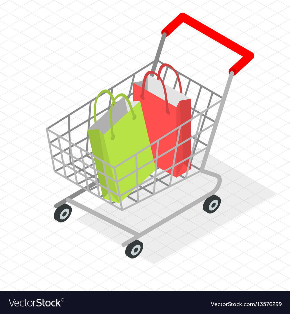 isometric shopping cart royalty free vector image rh vectorstock com shopping cart vector image shopping cart vector art
