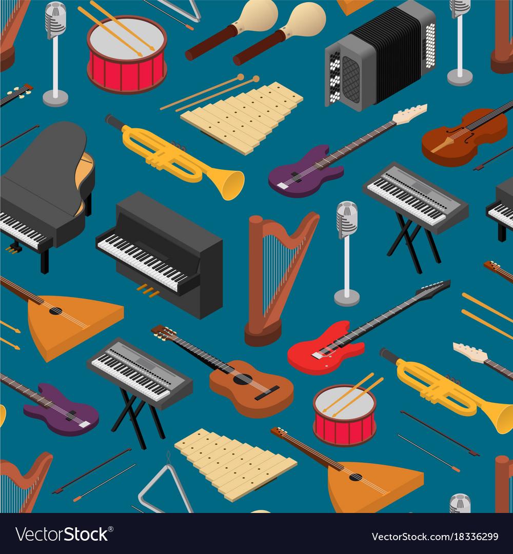 Music instruments background pattern isometric