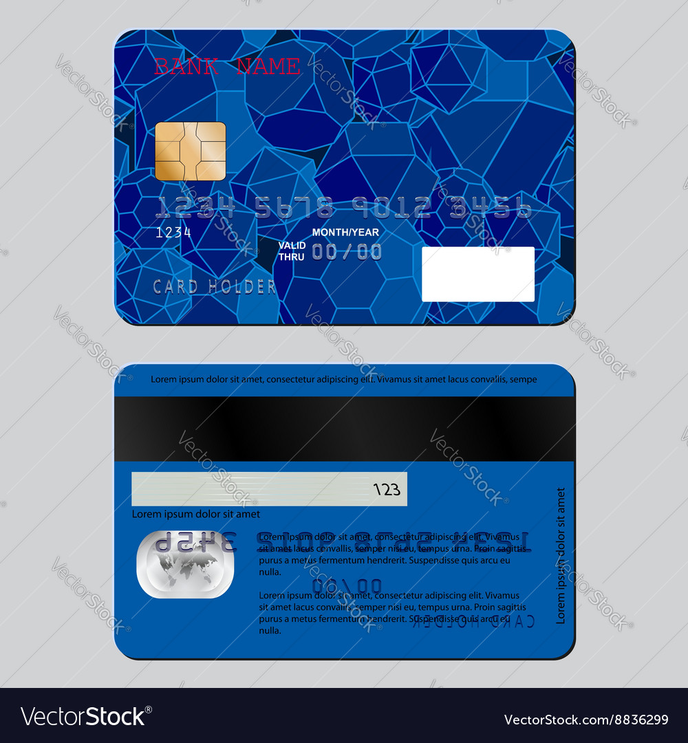 Realistic detailed credit card on both sides The vector image
