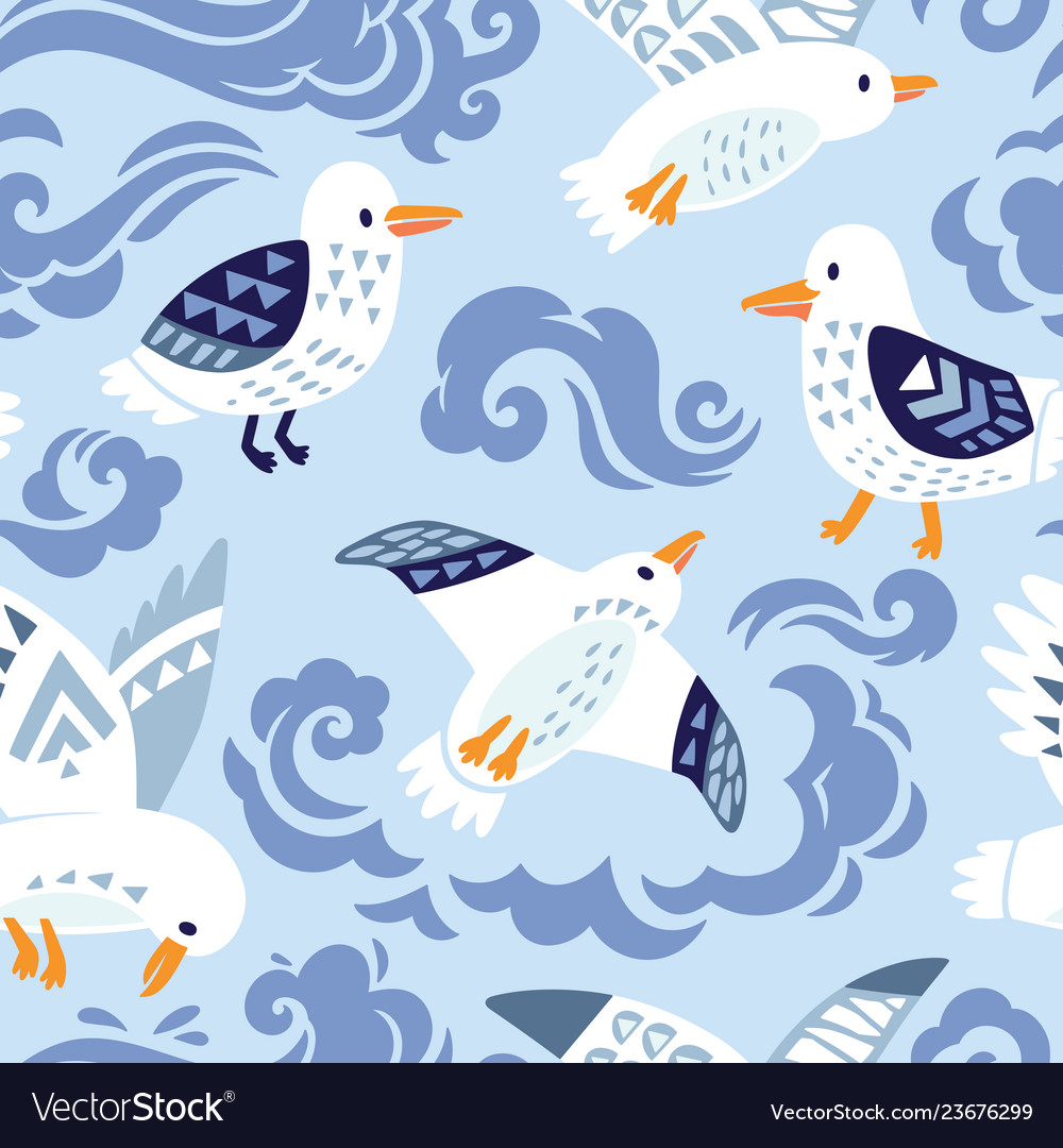 Seamless pattern with seagulls in decorative style