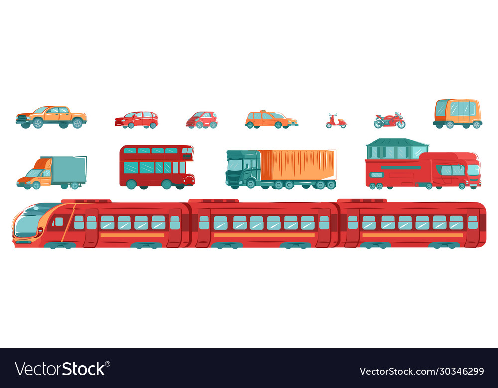 Urban transport set with subway tram cars and