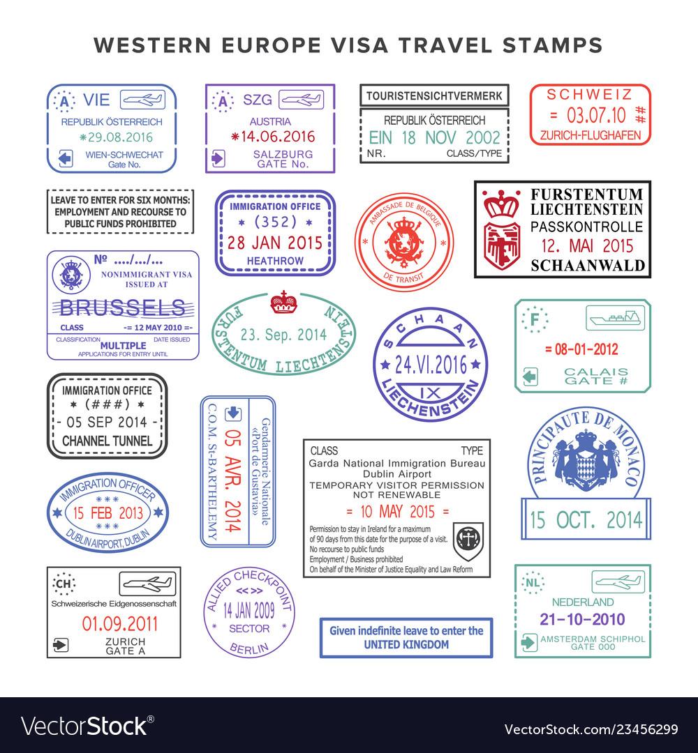 western europe colour travel visa stamps set vector image
