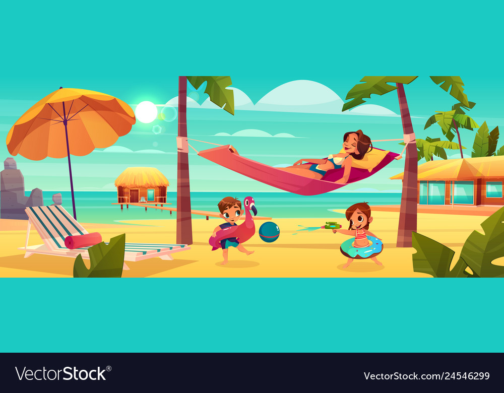 Woman with kids resting on beach