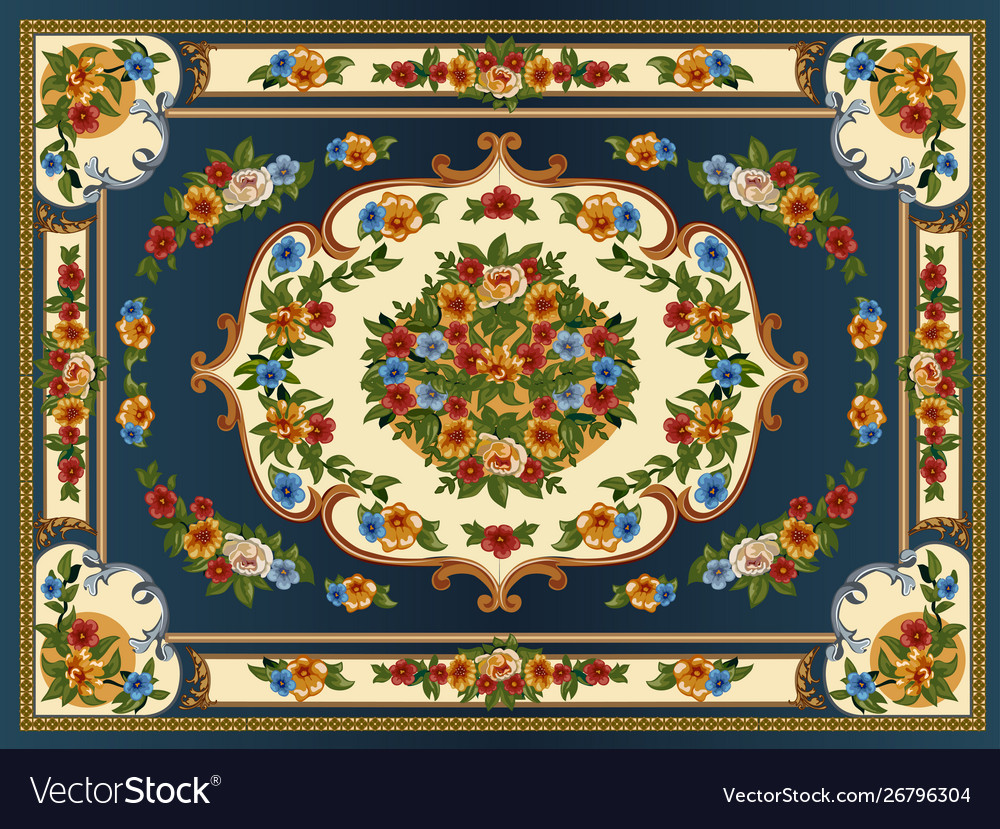 A bright multicolored carpet with floral ornaments