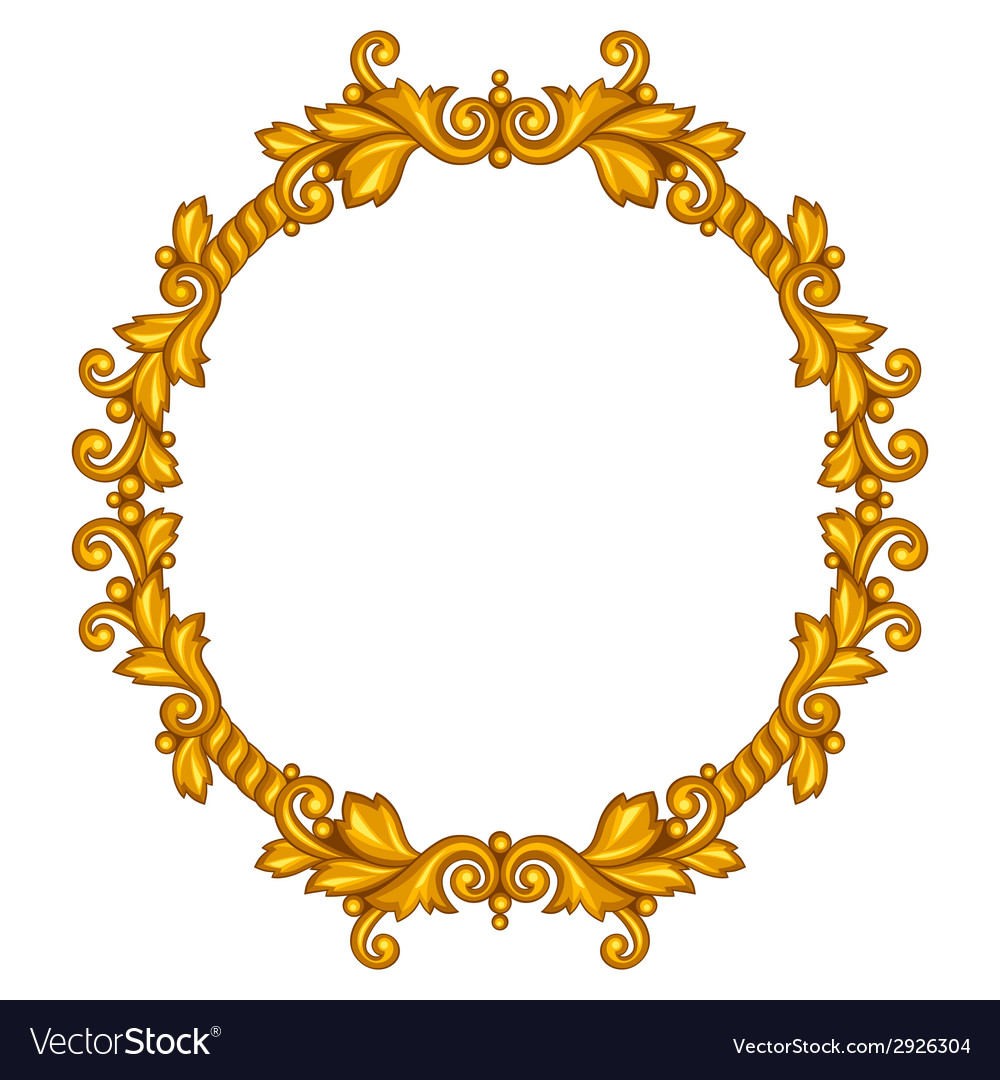 Baroque ornamental antique gold frame on white Vector Image