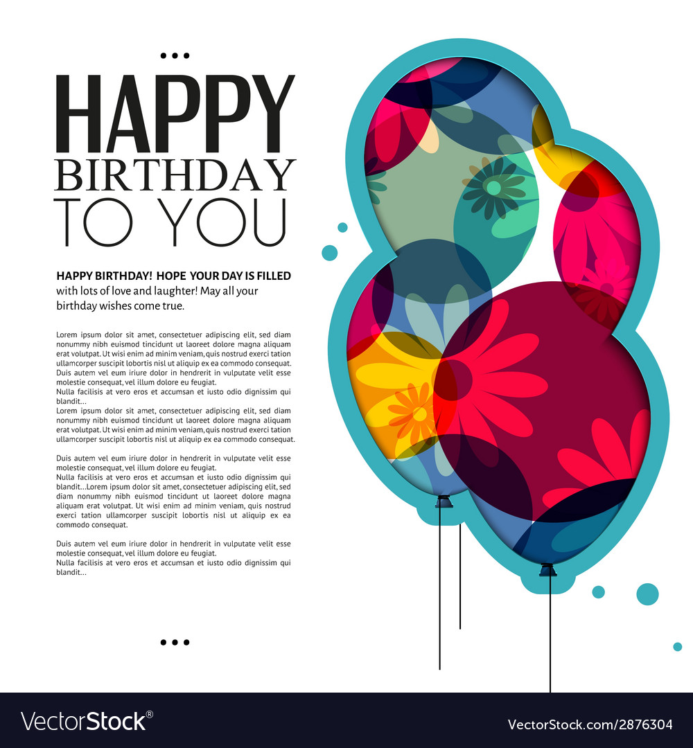 Birthday Card With Color Balloons Flowers And Text