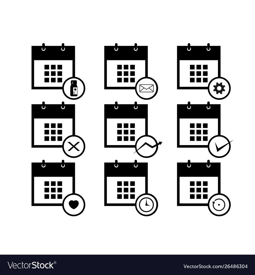 Calendar icons set for web design template