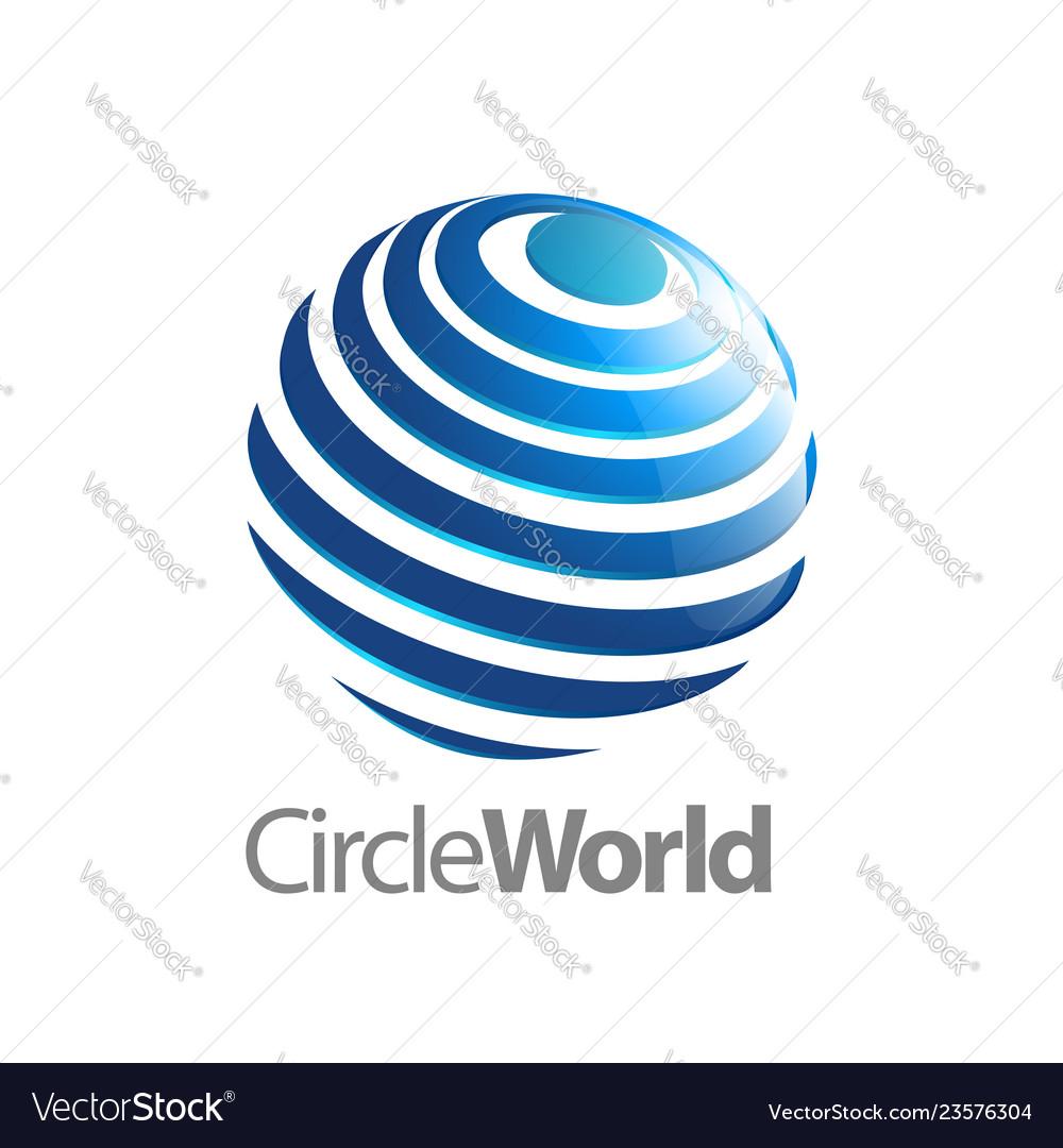 Circle world logo concept design symbol graphic