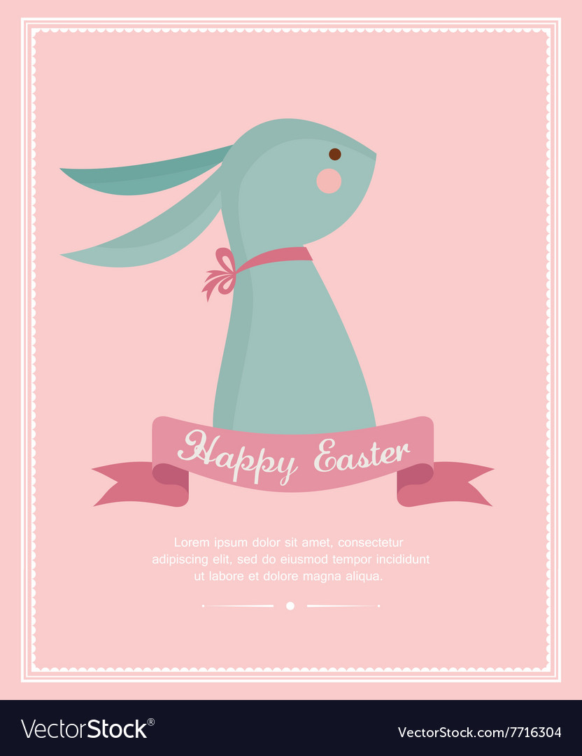 Cute Vintage Bunny with a ribbon Easter card