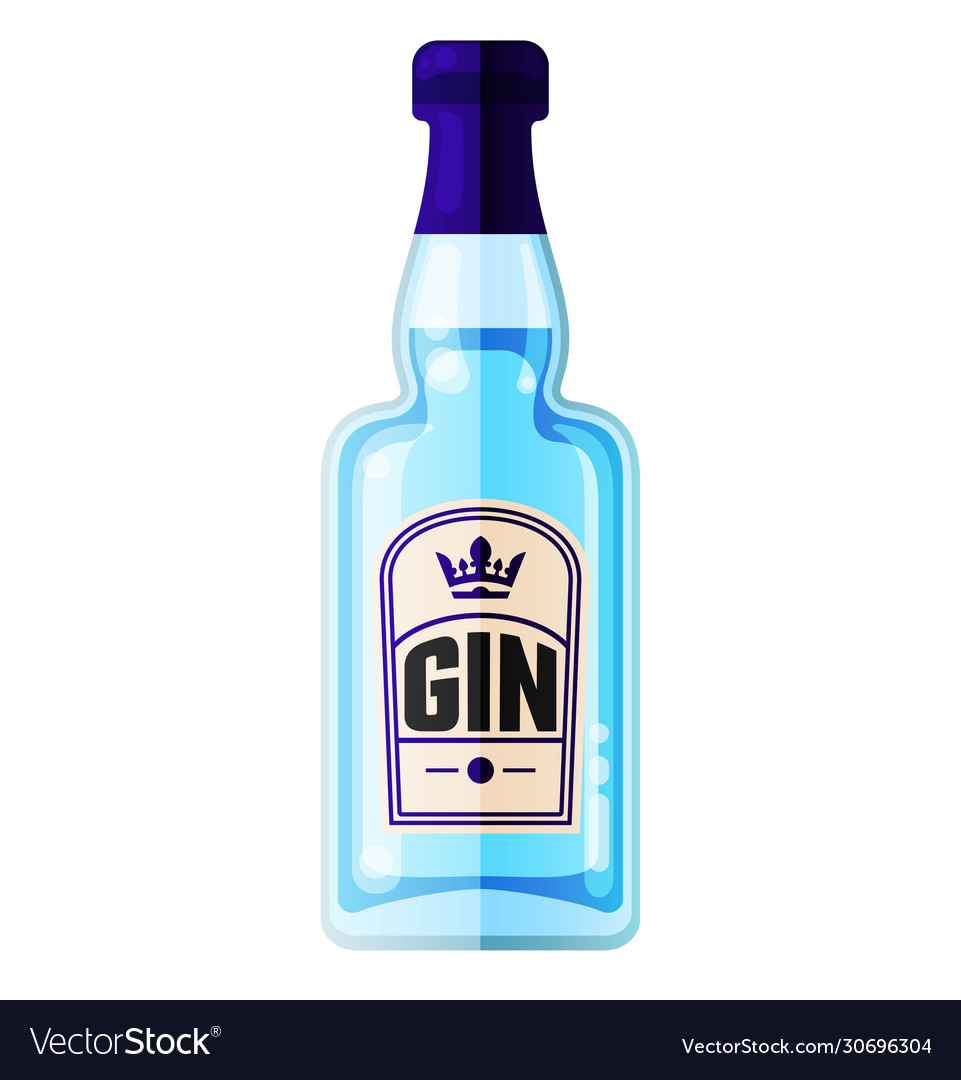 Dry gin blue bottle alcohol drink flat