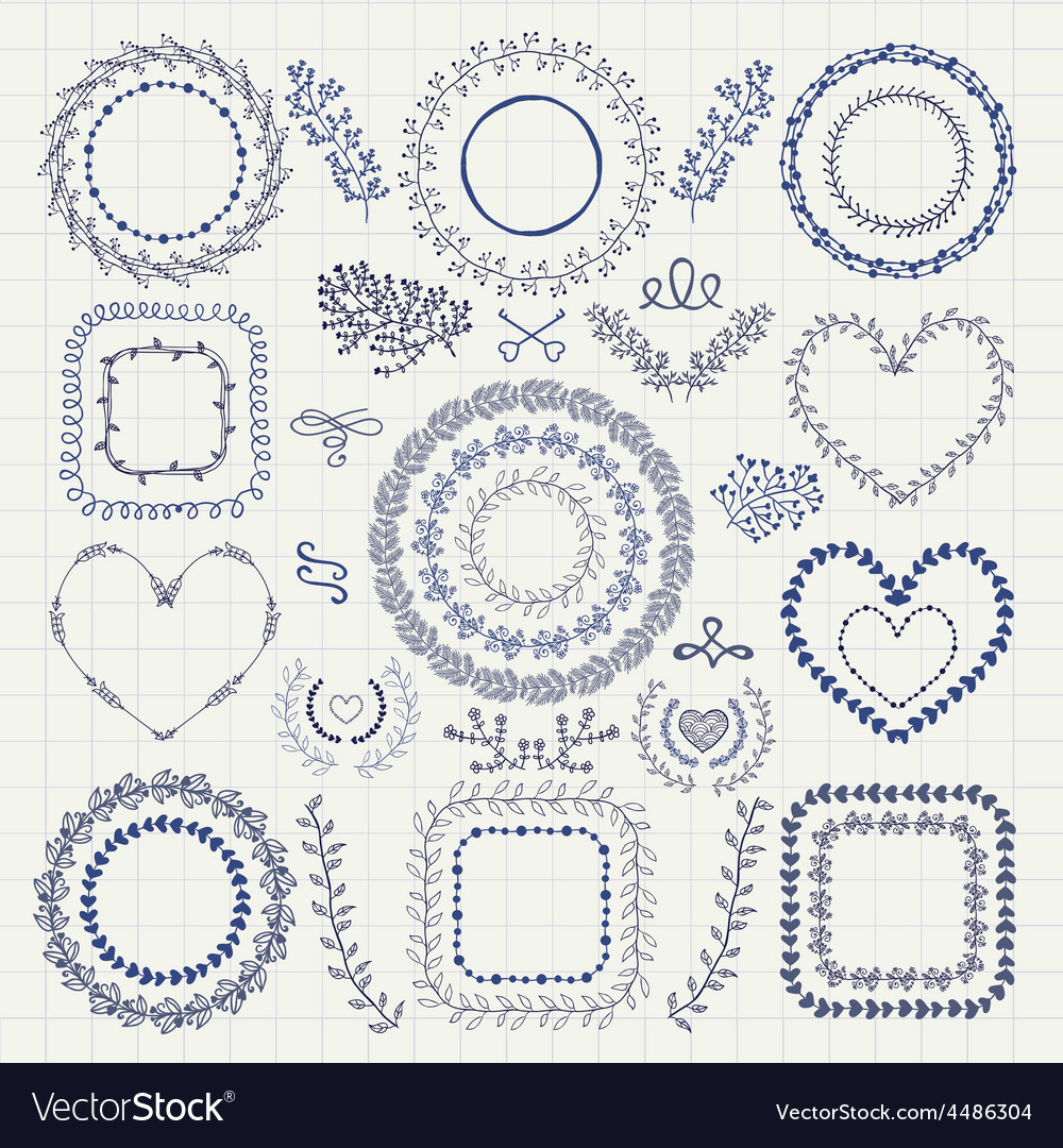 Hand Drawn Floral Frames Borders Wreaths vector image