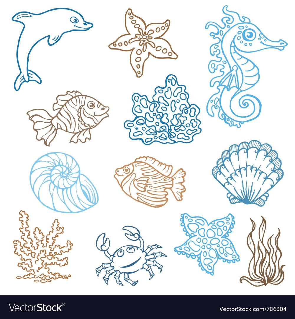 Marine life doodles