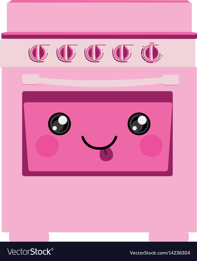 pink color silhouette of cartoon stove with oven vector image