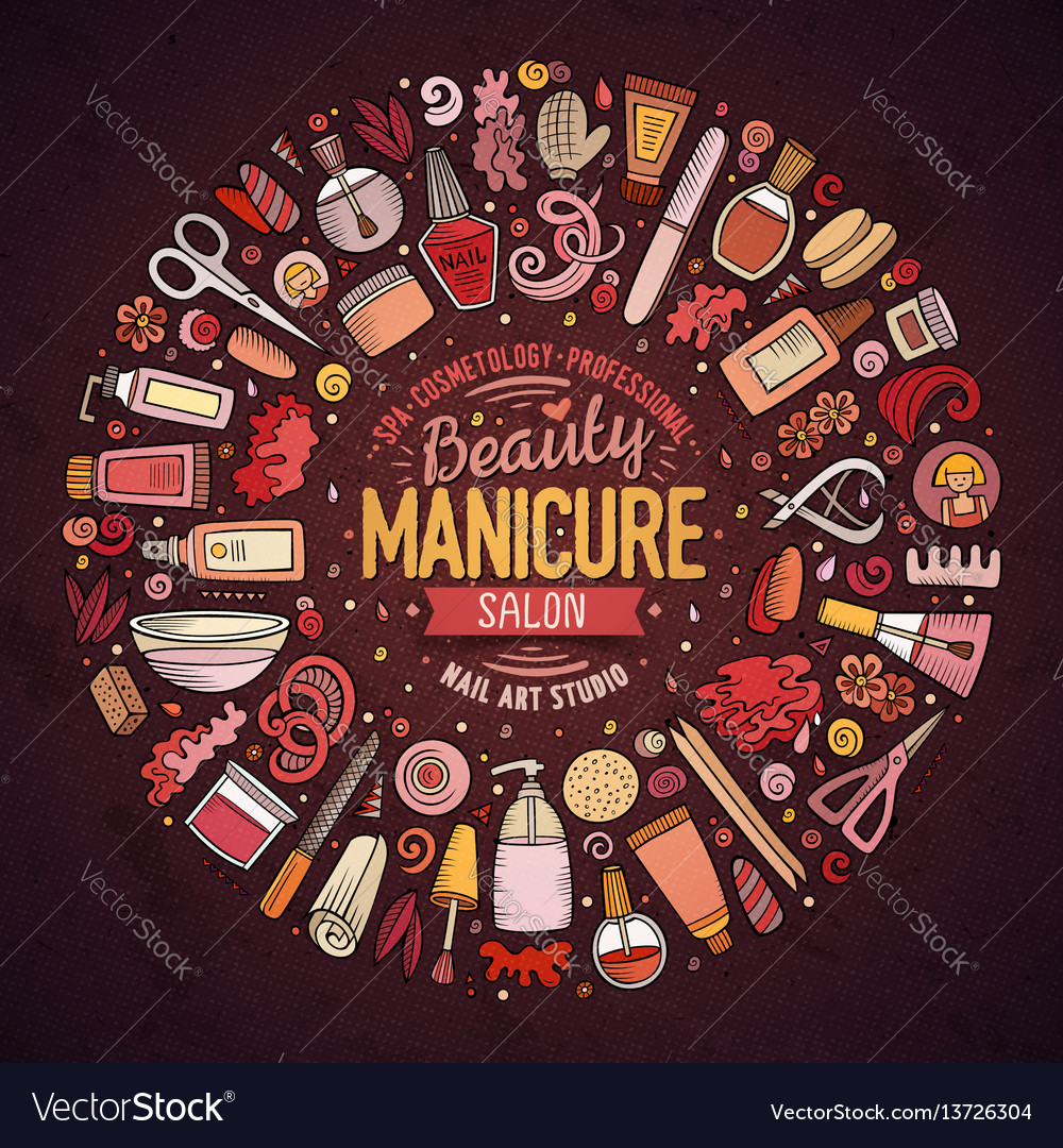 Set of manicure cartoon doodle objects