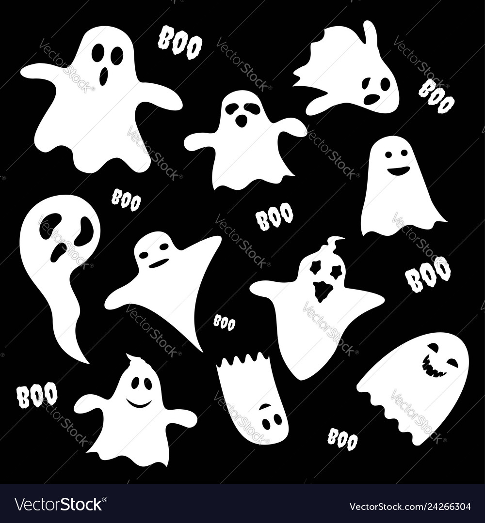 Set of scary white ghost characters