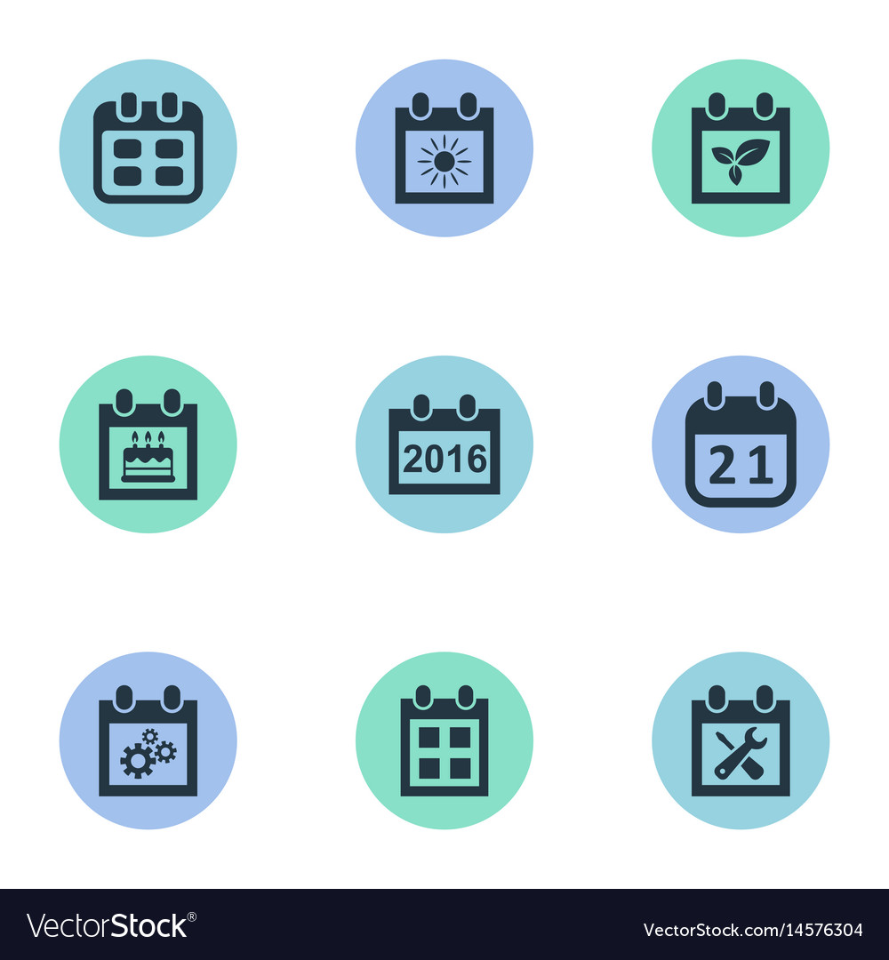 Set of simple calendar icons