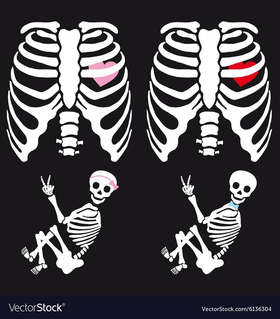 Skeleton baby boy and girl set