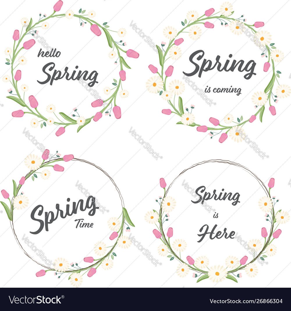 Tulip and daisy spring wreath collection eps10