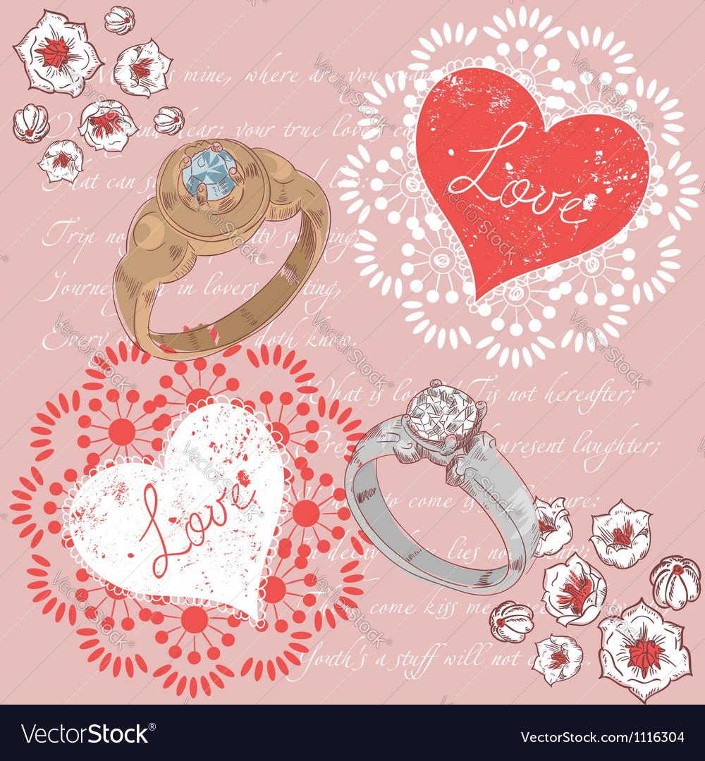 Valentine romantic retro greeting postcard