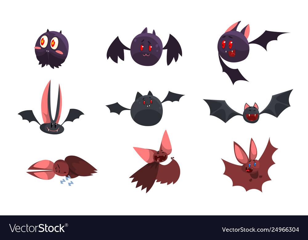 Vampire bat cartoon characters set funny bats
