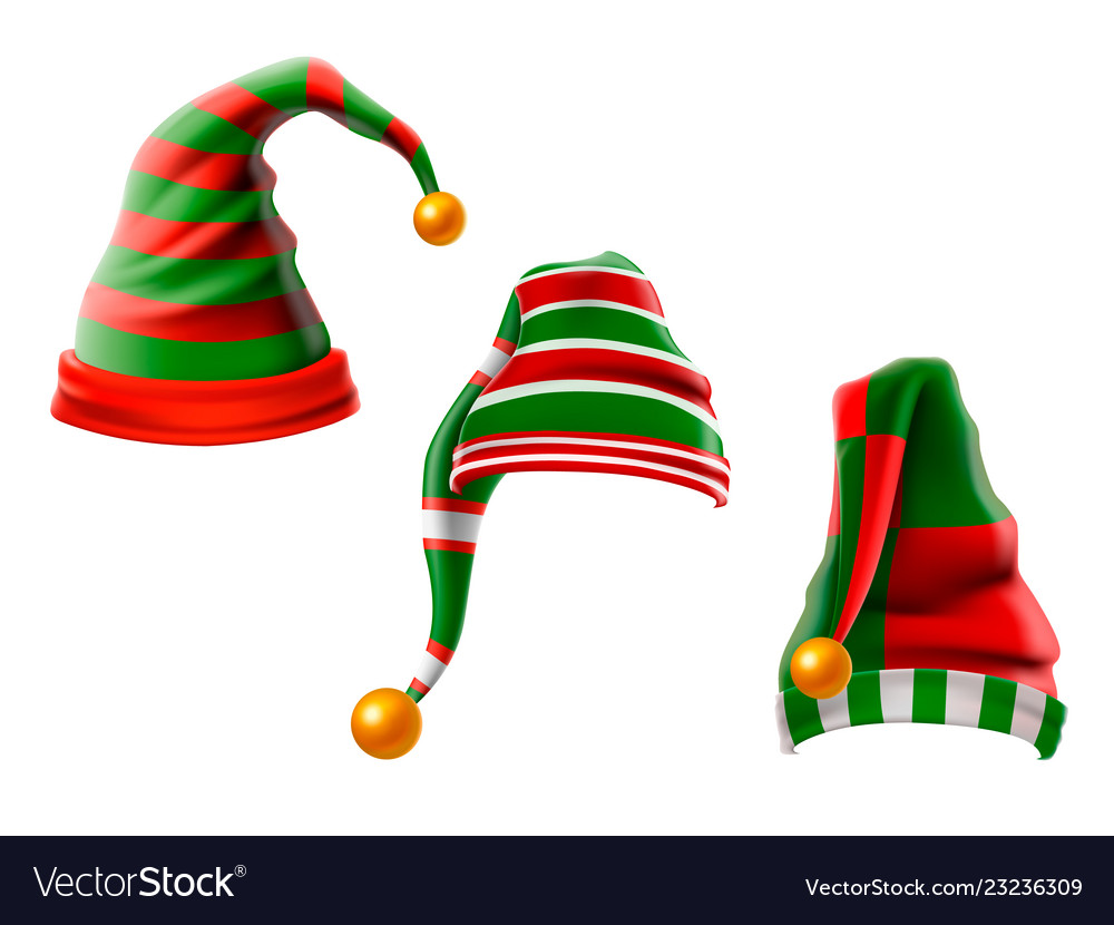 A collection of funny hats elf hats set isolation