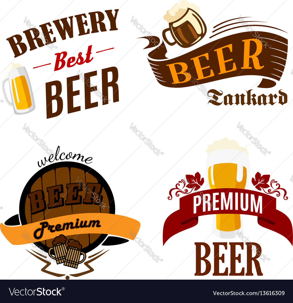 Beer pub isolated icons for brewery bar