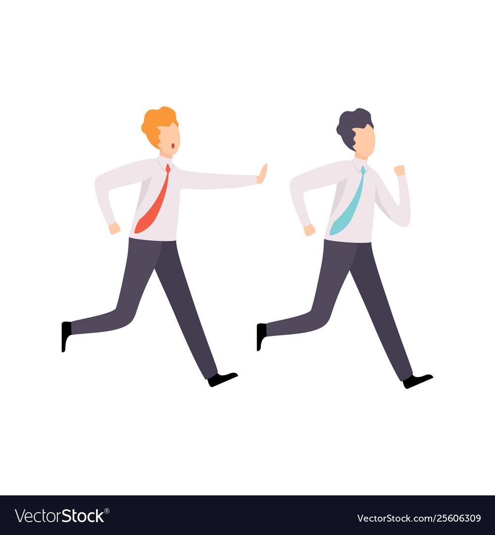 Businessman catching up running colleague