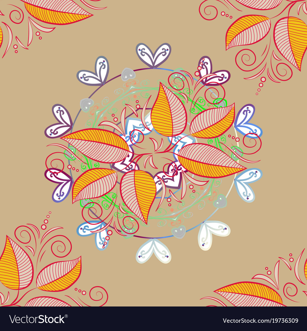 Classical september embroidery autumn leaves