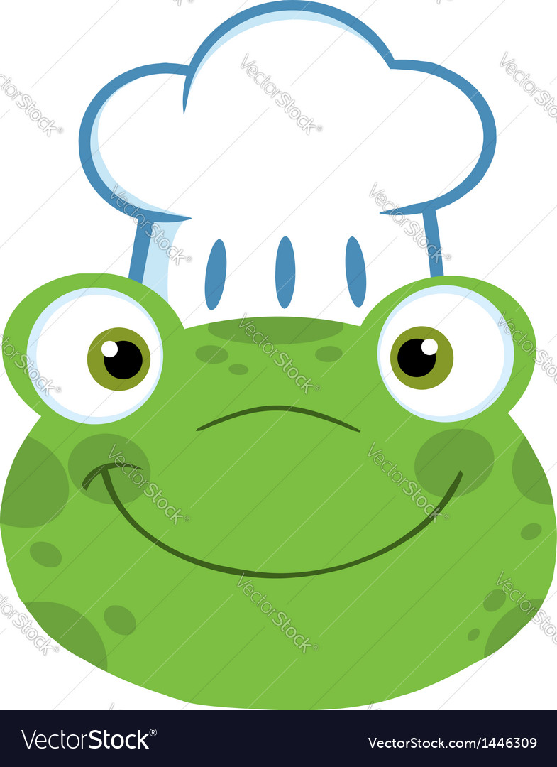 frog smiling head with chef hat royalty free vector image rh vectorstock com Vector The Crocodile Tree Frog Vector