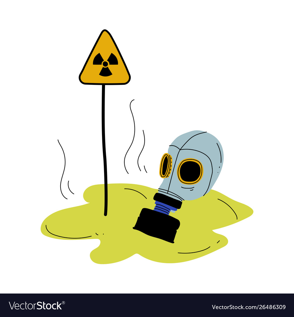 Gas mask and warning triangle sign radiation